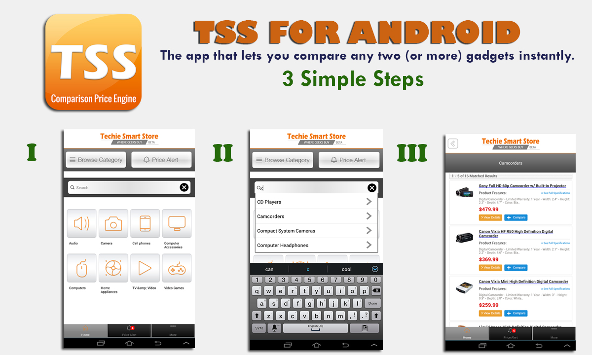 TSS for Android – Compare any two (or more) gadgets instantly – FREE!